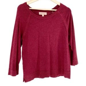 Philosophy 3/4 Sleeve Sweater Heathered Wine Wms L